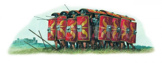ROMAN SOLDIERS IN TESTUDO FORMATION-ILLUSTRATION