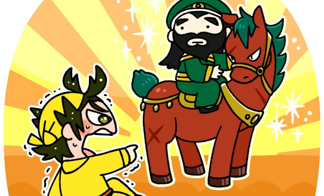 赤兎馬に乗った関羽に出会う周倉