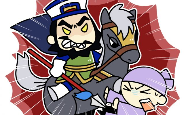 愛馬に乗り敵を粉砕する張遼