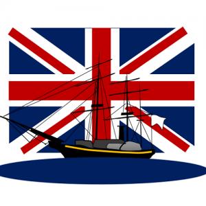 英国船の追跡を振り切る