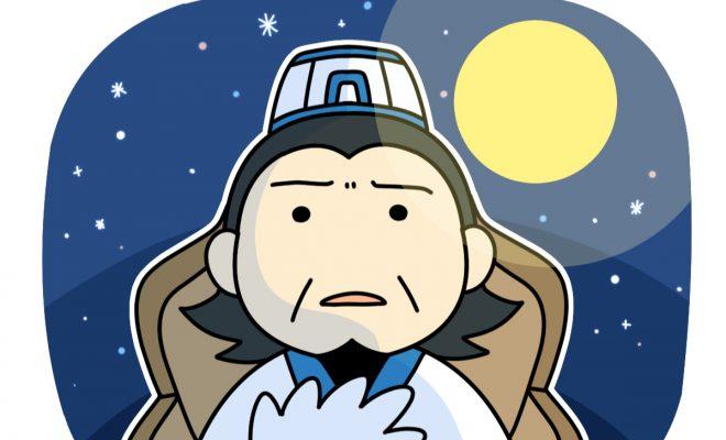 夜の五丈原で悲しそうにしている孔明