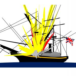 弁天波砲台の攻撃をまともに受ける