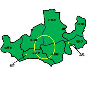 潼関勝利要件2 一つに固まらず各地に散らばるの地図