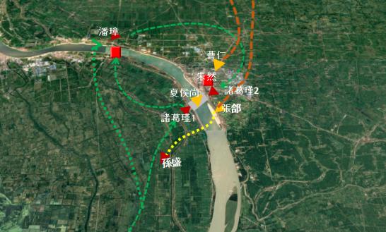 江陵の戦いの地図