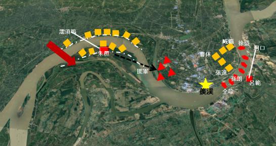 濡須口の戦いの地図