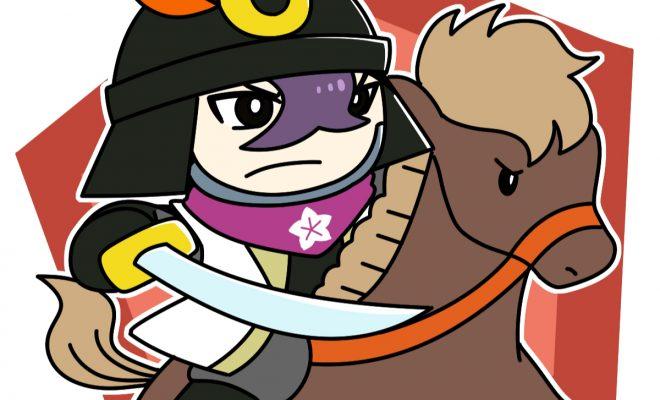 馬にまたがって戦う明智光秀