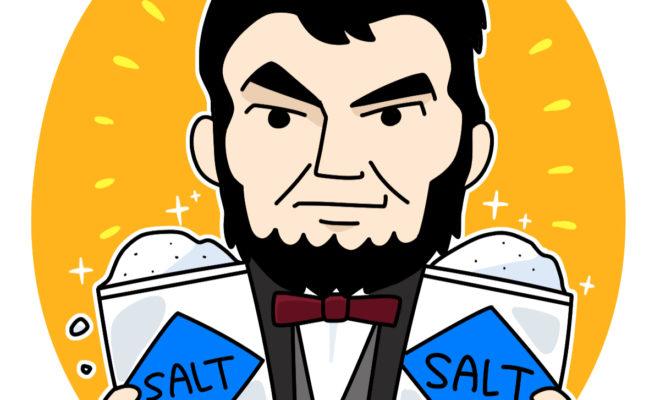 塩を一人占めして笑っているリンカーン大統領