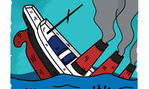 沈没するルシタニア号