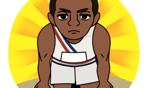 陸上アメリカ代表の黒人のジェシー・オーエンス
