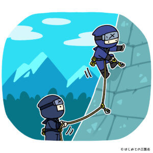 石垣を登る忍者